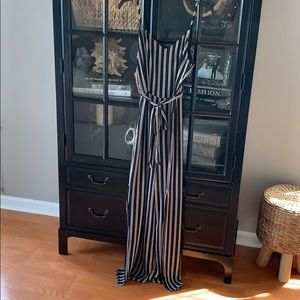 Black and white pin striped jump suit.